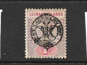 LEEWARD ISLANDS  1897   1d   QV   MH   DOUBLE OVPT   SG 10a