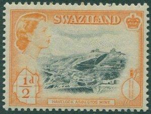 Swaziland 1956 SG53 ½d black and orange Havelock Asbestos Mine QEII MLH