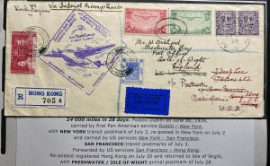 1939 Dublin Ireland First Flight Airmail Cover FFC To Hong Kong Mixed Franking