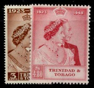 TRINIDAD & TOBAGO GVI SG259-260, ROYAL SILVER WEDDING set, M MINT. Cat £30.