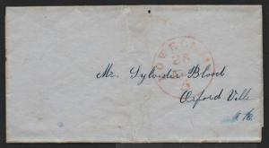 STAMPLESS US COVER Lowell MA 5c Rate in Center Circle