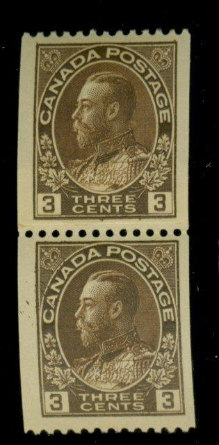 Canada #134i MINT Paste up pair F-VF OG NH Cat$150