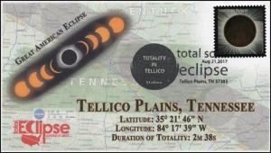 17-249, 2017, Total Solar Eclipse, Tellico Plains TN, Event Cover, Pictorial Ca