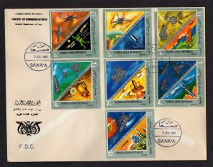 Yemen #261-61F (1969 Space Travel set) VF used on FDC