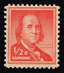 US #1030a Benjamin Franklin; Dry Printing; Used (0.25)