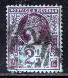 GB 1887 - 92 QV 2 1/2d Purple /Blue Victoria SG 201 ( G1097 )