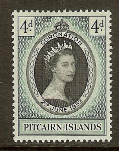 Pitcairn Islands, Scott #19, 4p QE Coronation, MH