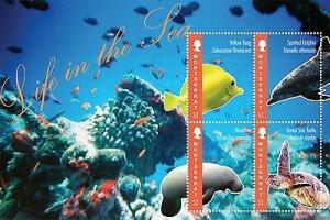 Montserrat - Sea Life, Turtle, Dolphin - 4 Stamp  Sheet MOT1205H