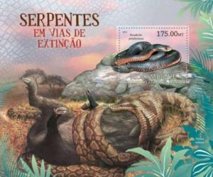 Mozambique - Endangered Snakes -  Stamp Souvenir Sheet - 13A-963