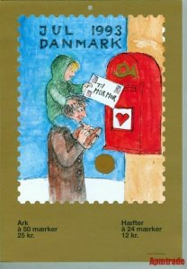 Denmark. Christmas Seal. 1993.1 Post Office,Display,Advertising Sign.Mailman,Box