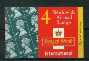1995 GQ3 Barcode Booklet 4 x 60p Worldwide Airmail stamps - complete
