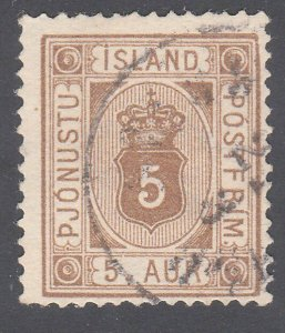ICELAND Official 5 ore SG O21a fine used....................................F688