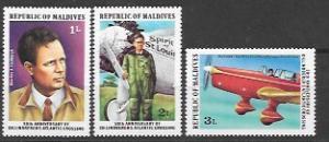 Maldives 1977 Set of 3 MNH  # 701 - 703. Charles Lindbergh Airplane