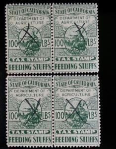 State of California Feeding Stuffs Agriculture Tax Stamp 100 lbs. Set of 4