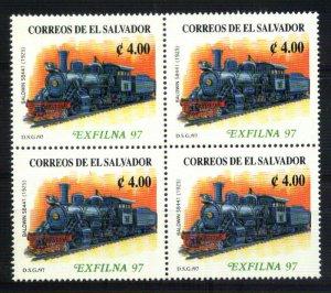 #1712 EL SALVADOR 1997 TRANSPORT OLD TRAIN,PHILAT EXPO EXFILNA BLOCx4 YV1307 MNH