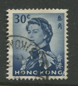 Hong Kong - Scott 208 -QEII Definitive Issue-1962 -Used- Single 30c Stamp