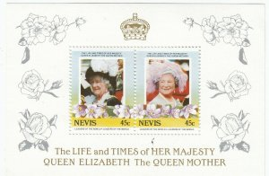 Nevis; Life & Times Of The Queen Mother Sheetlet, MNH, 2 x 45c, 1985