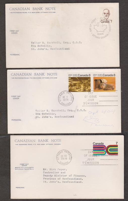 CANADA 10 Canadian Bank Note FDCs - Various Issues 1970s
