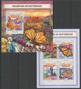 ST483 2016 SIERRA LEONE BUTTERFLIES FAUNA INSECTS KB+BL MNH STAMPS