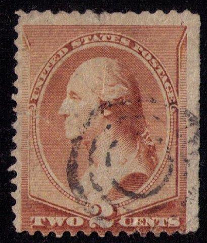 US Stamp Sc 211b Used No Gum ,Washington 2c closed up fault tear L Fine