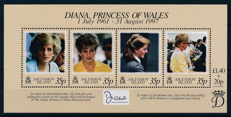 [95295] Ascension 1998 Royalty Princess Diana Sheet MNH