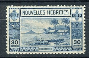 FRENCH; NEW HEBRIDES 1938 early pictorial issue fine Mint hinged 30c. value