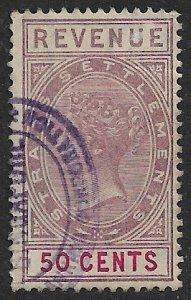 STRAITS SETTLEMENTS 1887 50c Lilac & Red QV Revenue Bft 39 VFU