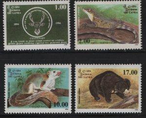 SRI LANKA 1119-1112,(4) SET, Hinged,1994 National wildlife and nature protection