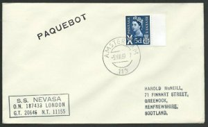 GB USED NETHERLANDS 1969 SS Nevasa Paquebot ship cover....................47966