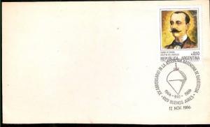 AARG 347 ARGENTINA 1986 COVER MEDICIN RADIOESTESIA POSTMARK                   .