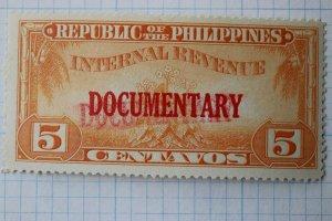 Philippines W-1327d EFO double strike error overprint Documentary Revenue DL