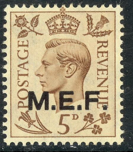 GREAT BRITAIN MIDDLE EAST FORCES 1942-43 KGVI 5d CAIRO Printing Sc 5b MH