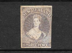 NEW ZEALAND 1862-64  3d  BROWN LILAC   FFQ  IMPERF MNG  CP A3A  SG 40 CHALON