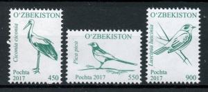 Uzbekistan 2017 MNH Birds Definitives Part 2 3v Set Magpies Storks Stamps
