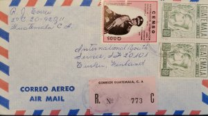 A) 1973, GUATEMALA, COVER SHIPPED TO FINLAND, AIRMAIL, REGISTERED 773, NATIONAL
