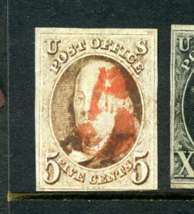Scott #1 Franklin Imperf Used Stamp w/ Red Numeral '5' Cancel (Stock #1-180)