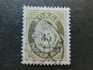 A5P28F66 Norway 1910-29 Wmk Post Horn 35o Redrawn Perf 14 1/2x13 1/2 used