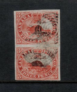 Canada #4d Extra Fine Used Pair With Strong Short Transfer Variety *With Cert.*