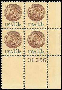 PCBstamps    US #1734 52c(4x13c)Indian Head Penny, MNH, (PB-4)