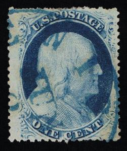 GENUINE SCOTT #24 1857 BLUE TYPE-V PLATE-7 RELIEF-D PLATED POS 76R7 BLUE CANCEL
