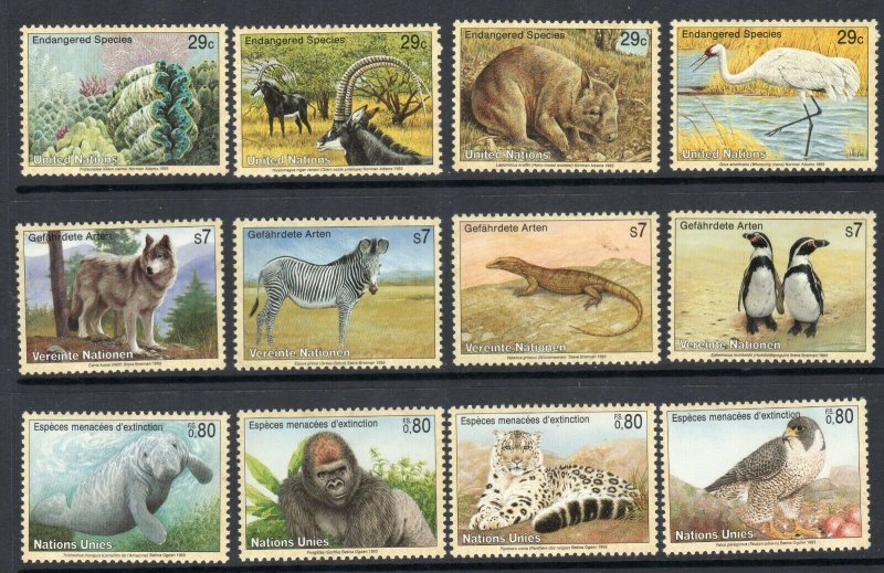 United Nations 1993 Endangered Species Sc 620-623  Set MNH Penguin