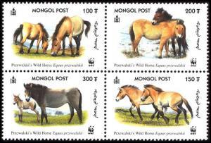 Mongolia WWF Przewalski's Horse 4v in block 2*2 SG#2861-2864 MI#3122-3125