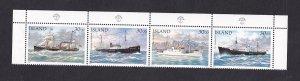 Iceland   #745   MNH 1991  strip of 4       ships