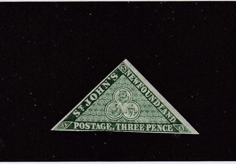 NEWFOUNDLAND # 11A FINE-MNH 3p GREEN TRIANGLE CAT VALUE $180