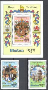 Bhutan Sc# 317-321 MNH Assorted 1981 Charles & Diana Royal Wedding