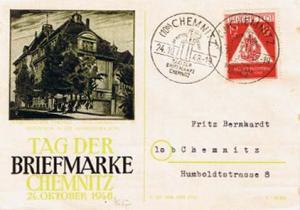 Germany Soviet Zone 12pf+3pf Stamp Day Semi-Postal 1948 (10b) Chemnitz Im Auf...