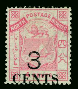 NORTH BORNEO  1886  Coat of Arms  3c /4c rose  Sc# 15 used  VF