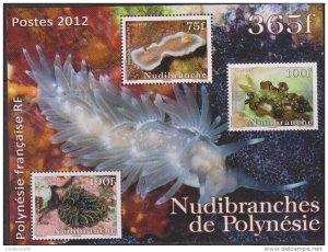 O) 2012 FRENCH POLYNESIA, NUDIBRANCH, SOUVENIR MNH