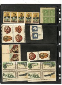US MULTIPLES COLLECTION ON STOCK SHEET, ALL MINT
