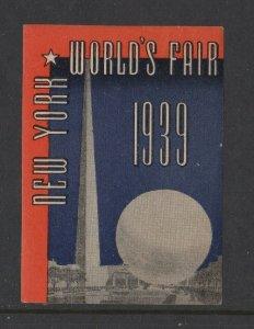 USA -1939 New York World's Fair Perisphere & Trylon Type 1 MH OG
